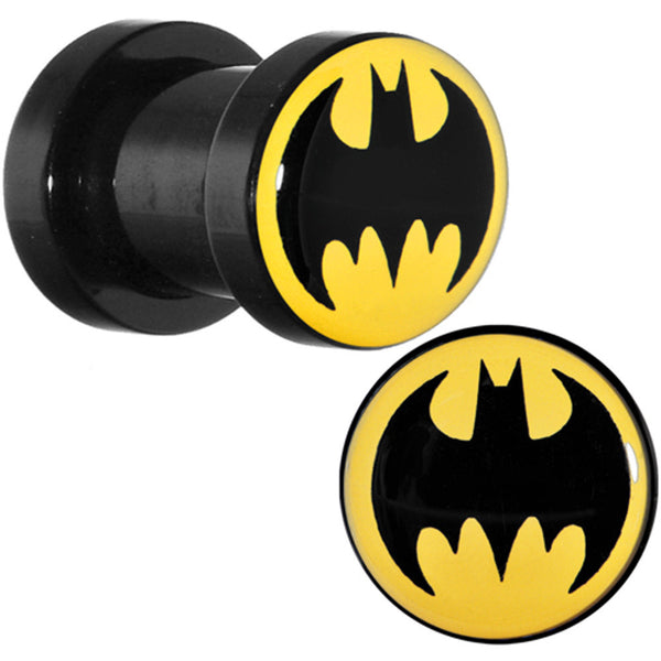 2 Gauge Black Acrylic Batman Screw Fit Plug Set