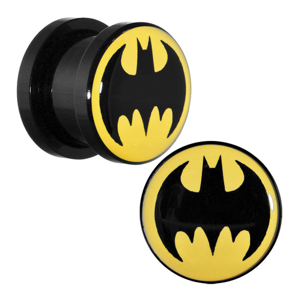 "7/16"" Black Acrylic Batman Screw Fit Plug Set"