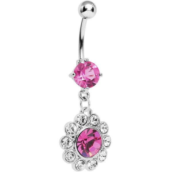 Hollywood Delight Pink Flower Gem Belly Ring