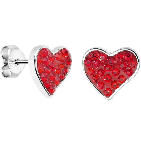 Red Crystal Ferido Heart Stud Earrings