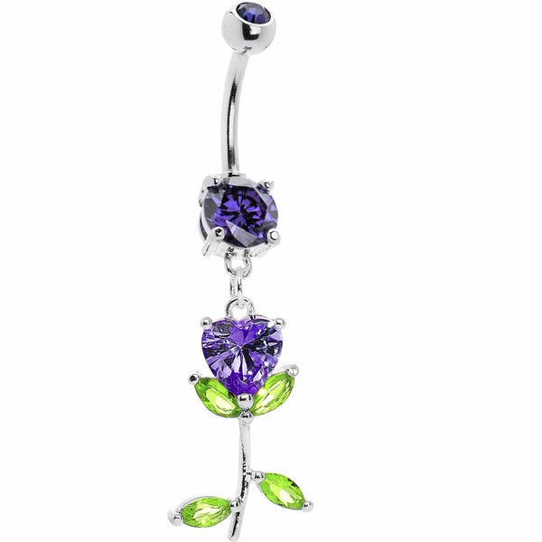 I love Tulips Purple Dazzle Belly Ring