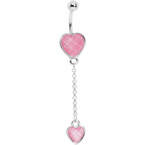 Glittery Pink Dangle Belly Ring