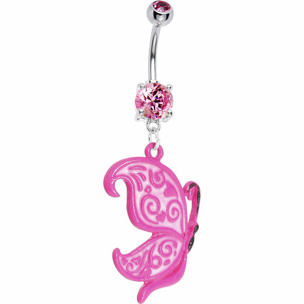 Neon Pink Butterfly Belly Ring