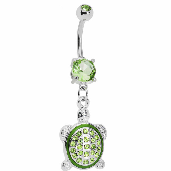 Dazzling Green Turtle Belly Ring