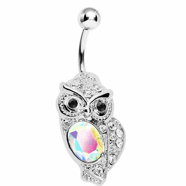 Aurora Borealis Midnight Owl Belly Ring