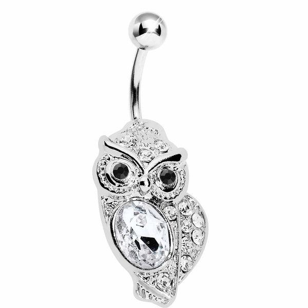 Clear Gem Midnight Owl Belly Ring