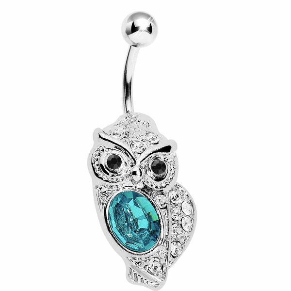 Aqua Gem Midnight Owl Belly Ring