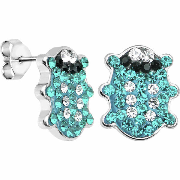 Blue Ferido Crystal Snuggle Bug Stud Earrings