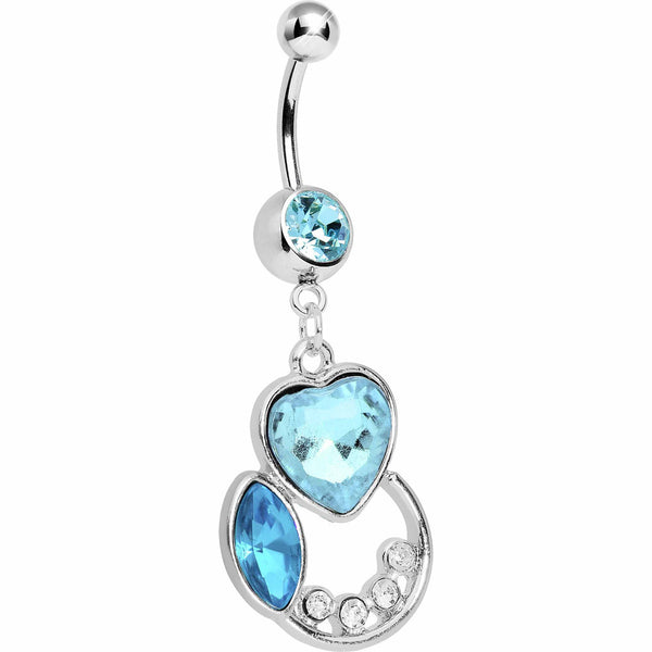 Aqua Passion Heart Belly Ring