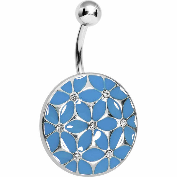 Blue Pocketful of Posie Flower Belly Ring