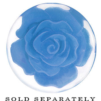 24mm Clear Acrylic Blue Floating Rose Flower Saddle Plug