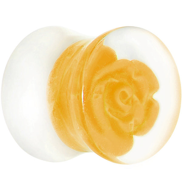 "1/2"" Clear Acrylic Yellow Floating Rose Saddle Plug"