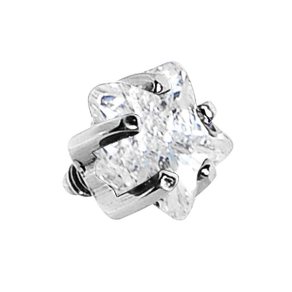 4mm Clear Prong Set Star Gem Dermal Top