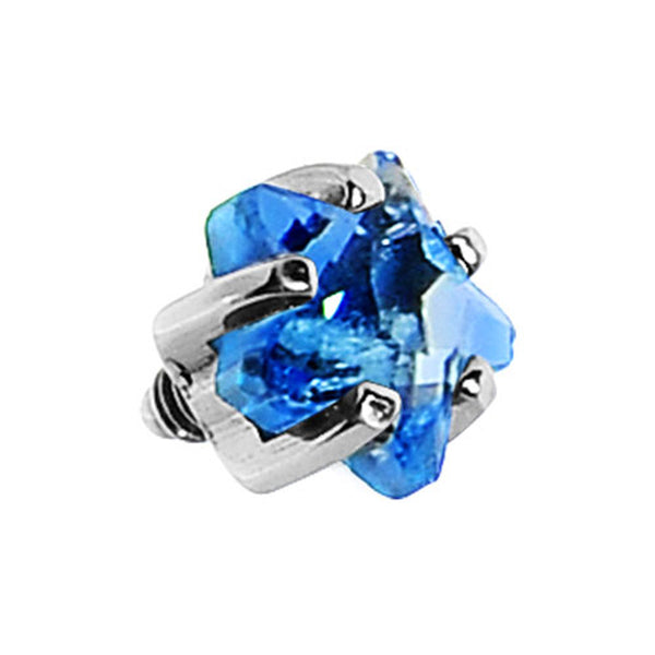4mm Blue Prong Set Star Gem Dermal Top
