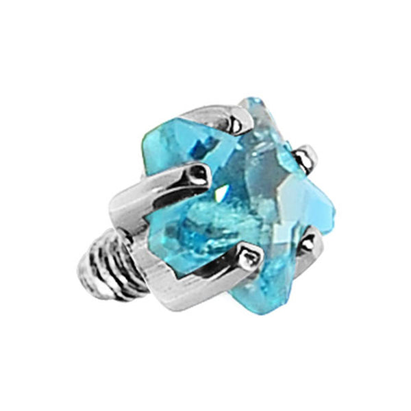 3mm Aqua Prong Set Star Gem Dermal Top