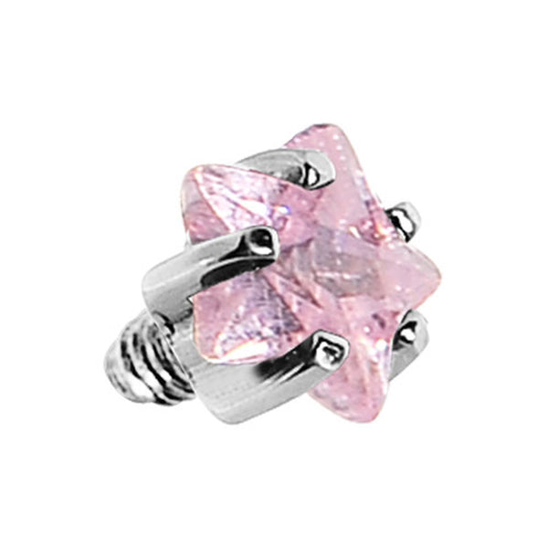 3mm Pink Prong Set Star Gem Dermal Top