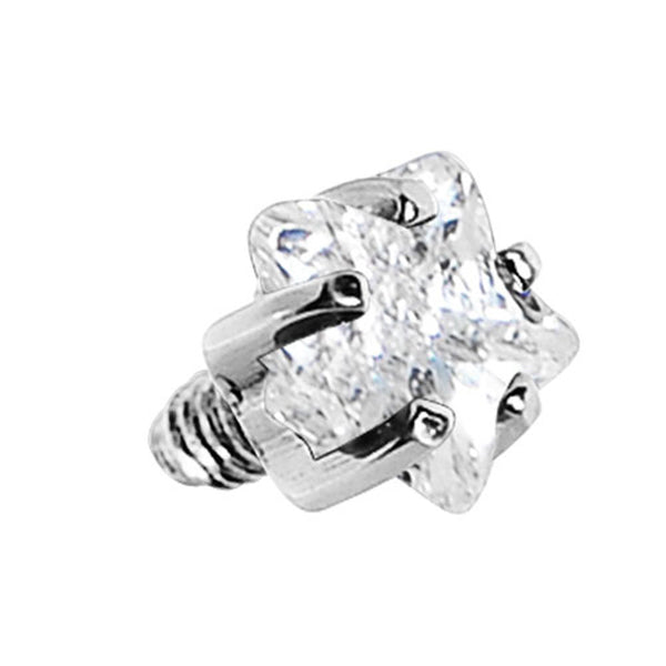 3mm Clear Prong Set Star Gem Dermal Top