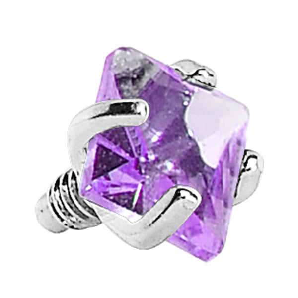 3mm Purple Prong Set Square Gem Dermal Top