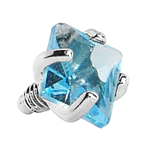 3mm Aqua Prong Set Square Gem Dermal Top
