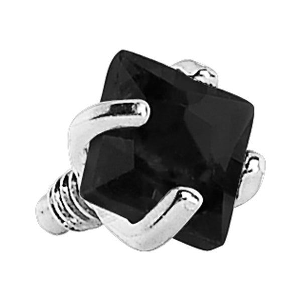 3mm Black Prong Set Square Gem Dermal Top