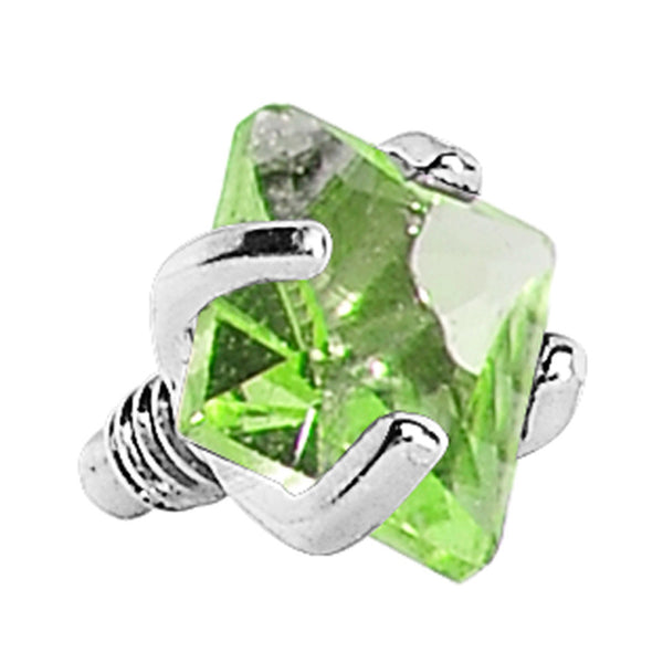 3mm Green Prong Set Square Gem Dermal Top