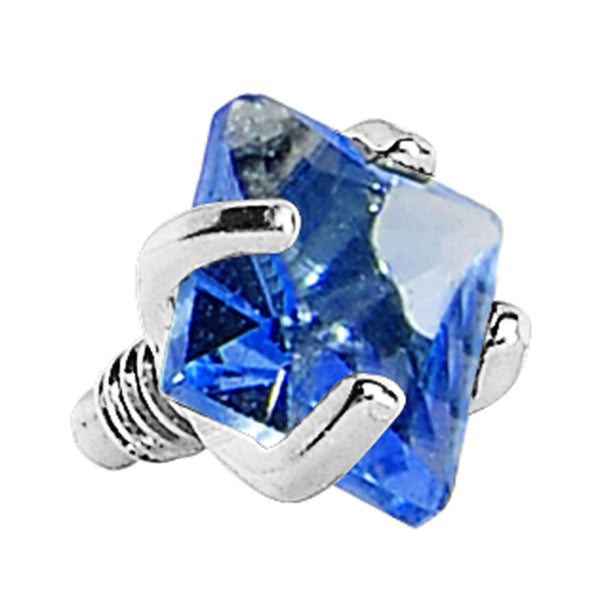 3mm Blue Prong Set Square Gem Dermal Top