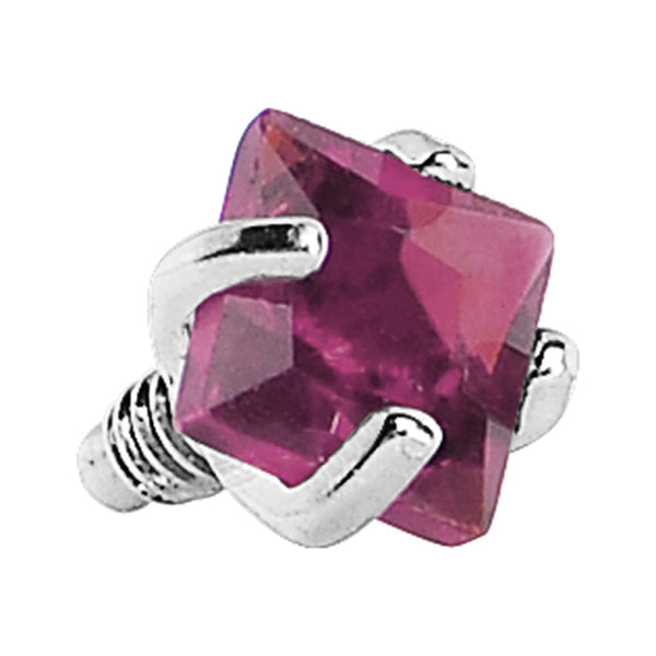 3mm Berry Prong Set Square Gem Dermal Top