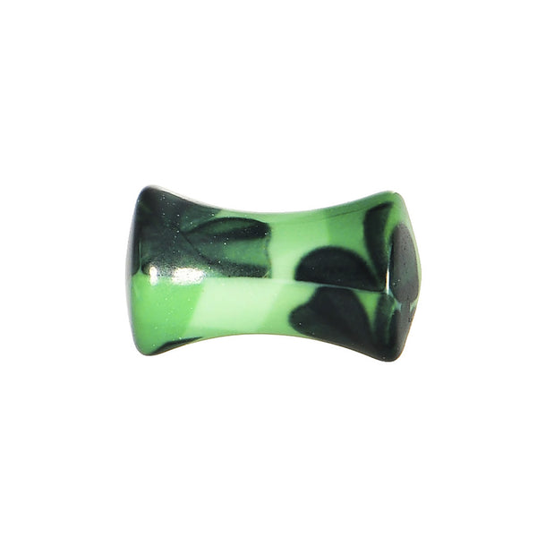 4 Gauge Green Acrylic Four Leaf Clover Field Saddle Plug