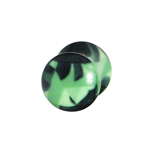 2 Gauge Green Acrylic Four Leaf Clover Field Saddle Plug