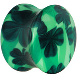 "5/8"" Green Acrylic Four Leaf Clover Field Saddle Plug"