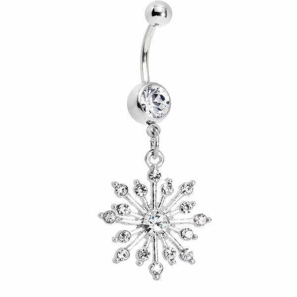 Crystalline Gem Sparkling Snowflake Belly Ring