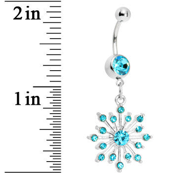 Aqua Gem Sparkling Snowflake Belly Ring