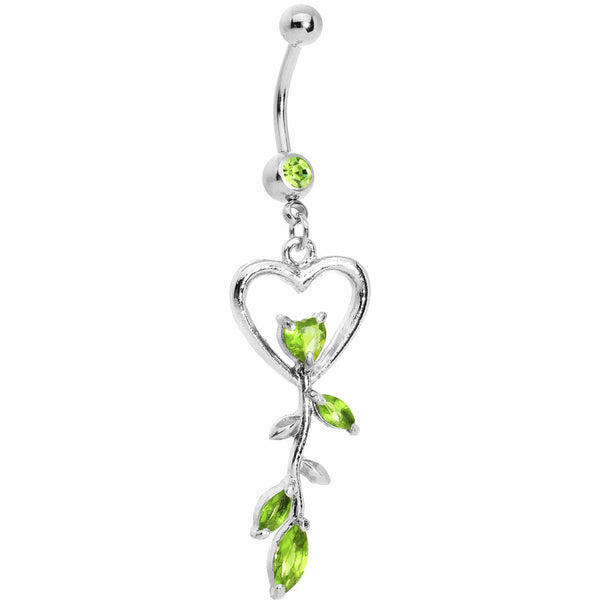 Peridot Gem Heart Rose Floral Belly Ring