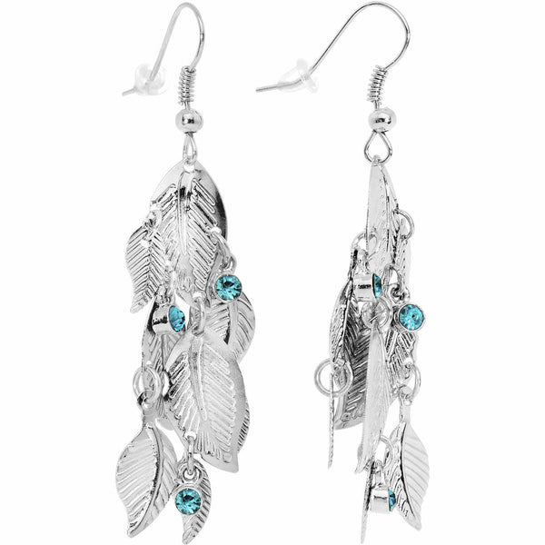 Aqua Gem Cascading Leaf Dangle Earrings