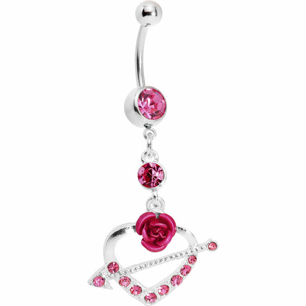 Pink Gem Rose Heart with Arrow Belly Ring