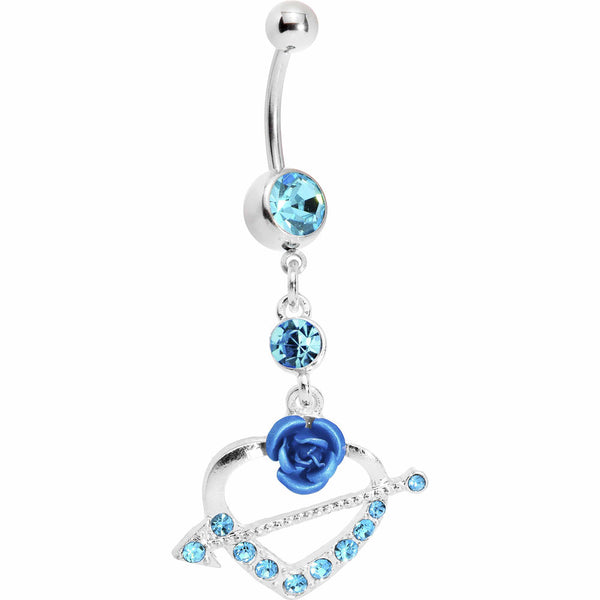 Blue Gem Rose Flower Heart with Arrow Belly Ring