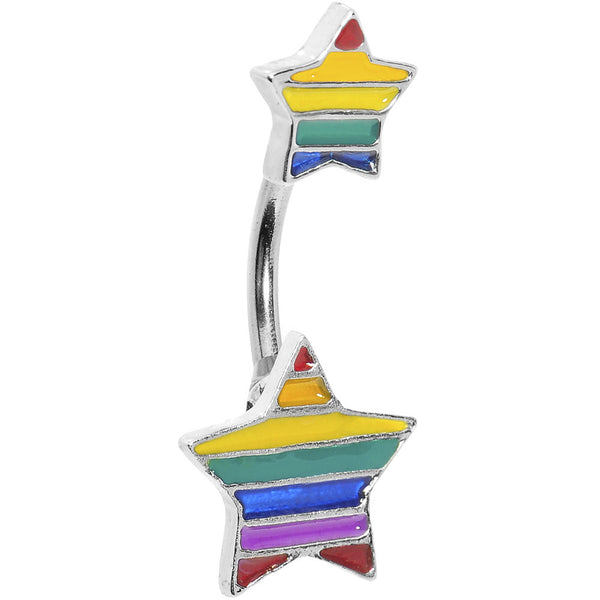 Double Star Rainbow Belly Ring
