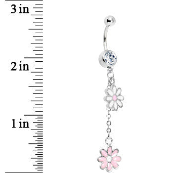 Pink and White Dual Daisy Flower Dangle Belly Ring