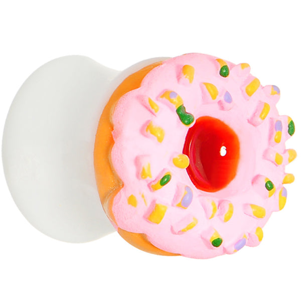 1/2 Pink Frosted Doughnut Saddle Plug