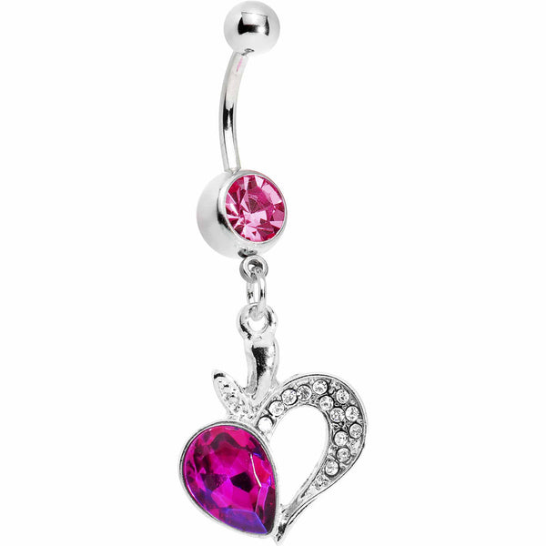 Pink Gem Half Hearted Heart Belly Ring