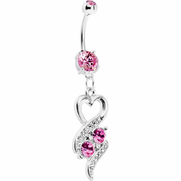 Pink Double Gem Heart Ribbons Belly Ring