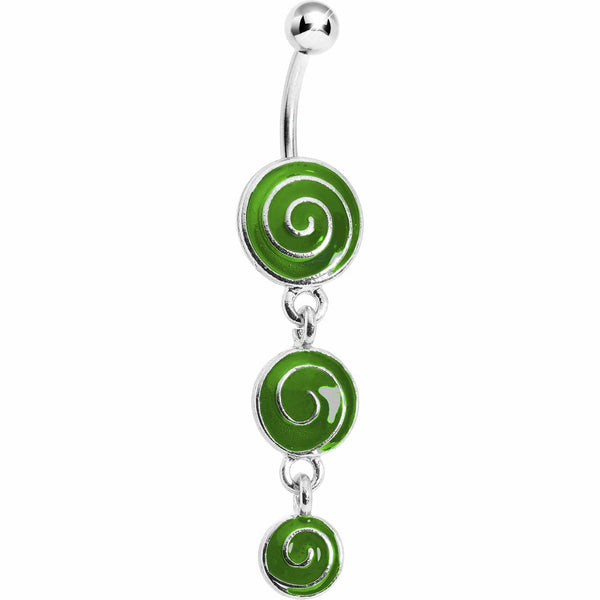 Green Lollipop Triple Swirl Belly Ring