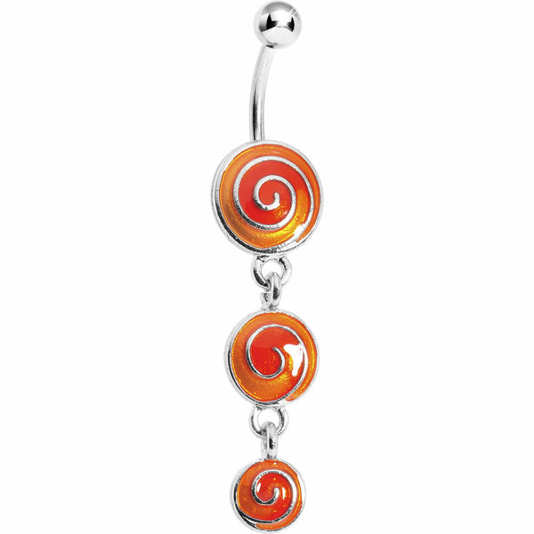 Orange Lollipop Triple Swirl Belly Ring