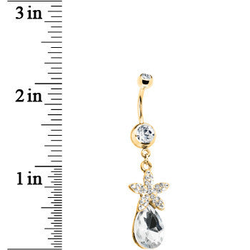 Gold Tone Crystalline Gem Exotic Flower Teardrop Belly Ring