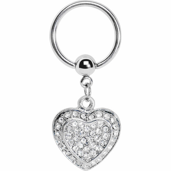 Crystalline Heart Dangle Captive Ring