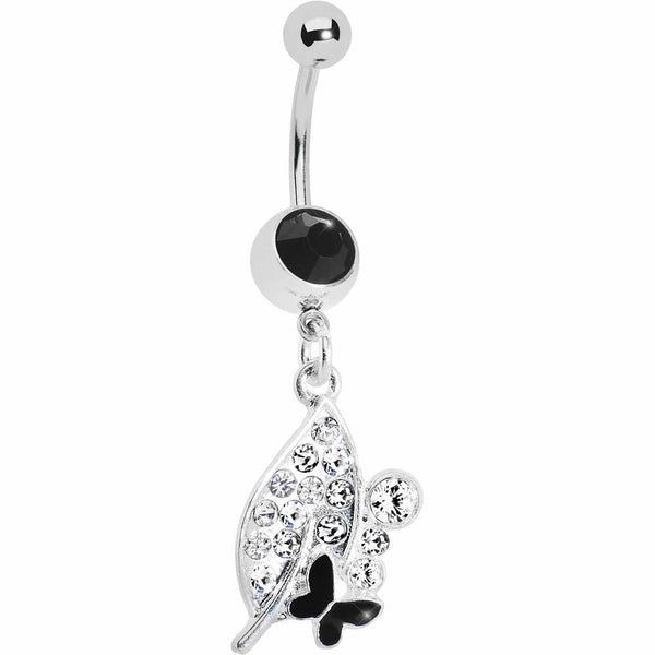 Crystalline Leaf Black Butterfly Belly Ring