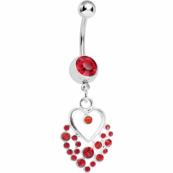 Dazzling Red Embellished Heart Dangle Belly Ring