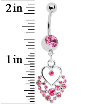 Dazzling Pink Embellished Heart Dangle Belly Ring
