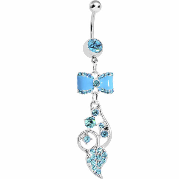 Blue Enamel Bowtie Winding Vine Belly Ring