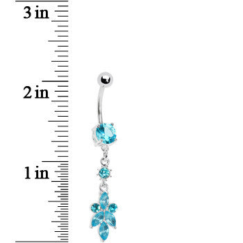 Blue Heart of Palm Flower Dangle Belly Ring